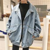 春秋季新款韓版原宿BF大口袋牛仔外套女寬鬆上衣學生中長