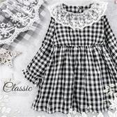 秋日時尚經典黑白格紋長袖洋裝(280174)★水娃娃時尚童裝★