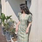 復古v領洋裝女夏季收腰法式格子長裙2020新款氣質桔梗裙子 米娜小鋪