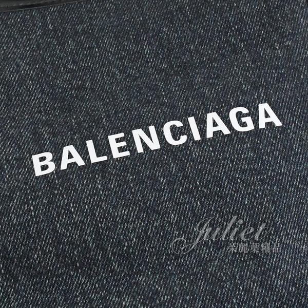 茱麗葉精品【全新現貨】BALENCIAGA 巴黎世家 339933 NAVY系列單寧皮飾邊手提子母包.深藍 大