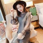 洋裝 韓版V領釘珠網紗衫 無袖毛呢背帶裙兩件套連身裙女612-100