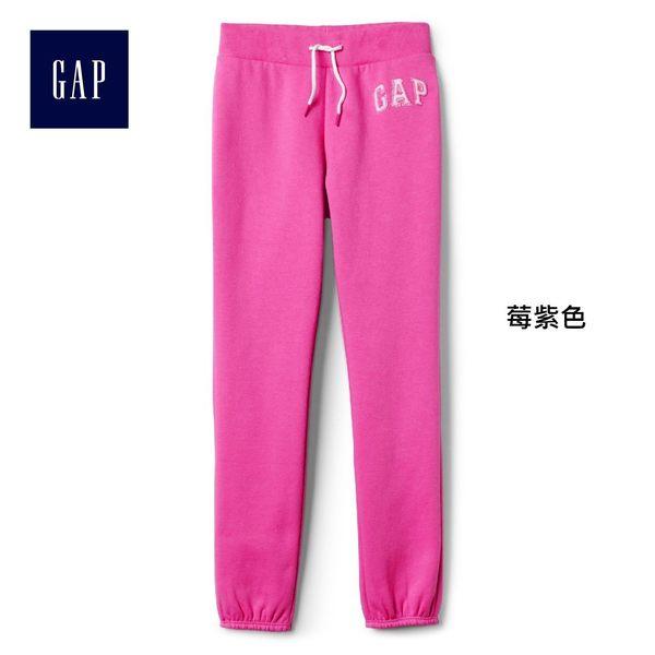 Gap女童 logo刷毛中腰兒童運動褲 柔軟彈力長褲褲子 900897-莓紫色