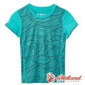 【wildland 荒野】中童 彈性棉感抗UV印花衫『湖水藍』0A61660 T恤 上衣 休閒 戶外 登山 印花