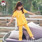 女童睡衣夏季薄款可愛超萌純棉短袖套裝小女孩親子母女兒童家居服 漾美眉韓衣