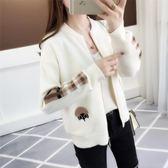 針織開衫女秋裝新款韓版短款寬鬆棒球服刺繡百搭毛衣外套女潮—聖誕交換禮物