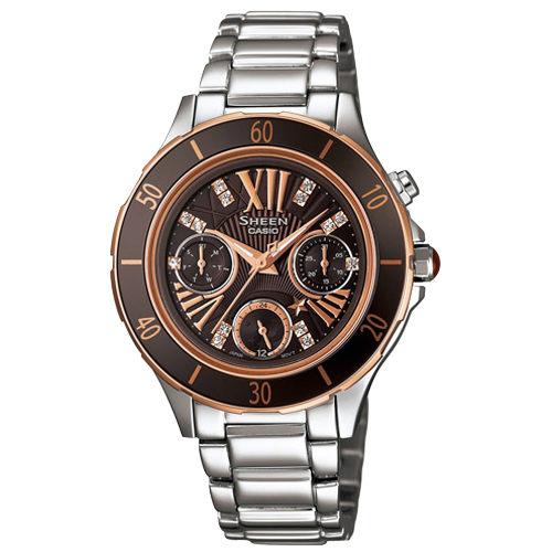CASIO SHEEN系列 璀璨優雅三眼星空腕錶-咖啡