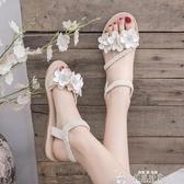 仙女風涼鞋女學生夏季新款女鞋韓版百搭沙灘鞋平底厚底羅馬鞋聖誕交換禮物