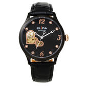 ELIDA 浪漫愛心機械皮帶腕錶-黑 EA3329-BB