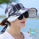 伸縮帽帽子女夏天正韓騎車帽戶外出游大沿紫線防曬帽空頂透氣伸縮太陽帽