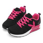 PLAYBOY 舒適簡約 針織綁帶氣墊休閒鞋-黑桃(Y5777黑桃)