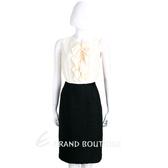 Max Mara 米白x黑色荷葉設計拼接絲質無袖洋裝 1720554-37