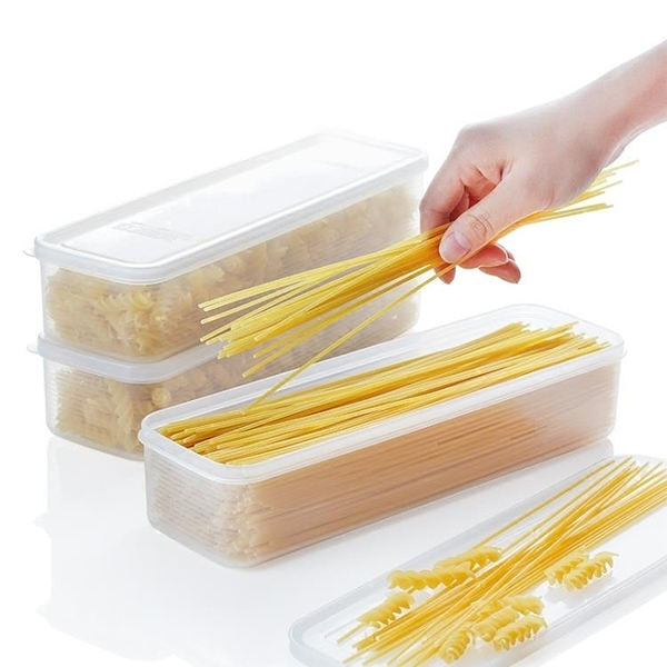 保鮮盒 日本進口面條盒面條收納盒面條保鮮盒塑料長方形冰箱掛面盒3個裝