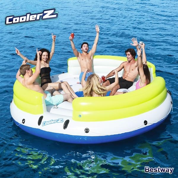 ★樂購王★CoolerZ LAZY DAYZ 歡樂圈 漂流小島 六人組 水上大型 充氣 漂浮  沙發 躺椅 踏水 附杯架