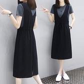 連身裙 中長款背帶裙子時尚休閒純棉連身裙女2021夏裝新款寬鬆顯瘦兩件套 嬡孕哺