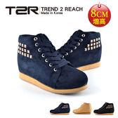【韓國T2R】鉚釘時尚內增高短筒靴 深藍 ↑8cm(5600-0106)