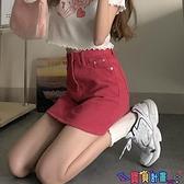 牛仔短裙 高腰牛仔短裙女夏2021年新款時尚韓版顯瘦包臀裙子紅色a字半身裙 618狂歡