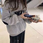 冬季韓版撞色字母印花加絨加厚寬鬆圓領套頭上衣女W80049