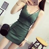 針織洋裝 新款女裝鉤花蕾絲V領吊帶連衣裙無袖打底包臀背心裙 - 雙十二交換禮物