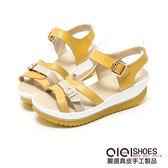 涼鞋 對比色系皮帶超輕量真皮楔型涼鞋(黃) *0101shoes 【18-525y】【現+預】