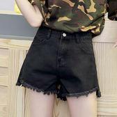 前短後長高腰黑色牛仔短褲女寬鬆闊腿韓版毛邊學生a字顯瘦熱褲子    琉璃美衣