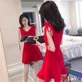 洋裝連身裙 夜店裝 V領 荷葉邊 修身 收腰 連身裙