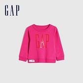 Gap女幼童 碳素軟磨系列 Logo刷毛圓領休閒上衣 656445-玫紅色