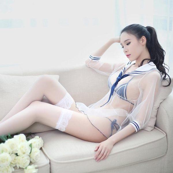 性感學生情趣內衣小胸激情趣套裝sm騷透視三點式開襠奶子水手制服