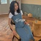 韓版單排扣小清新連身裙春女秋新款復古高腰顯瘦中長款牛仔背帶裙