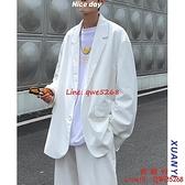 休閑西裝男外套裝炸街小西服設計感痞帥白色寬松韓版潮【西語99】
