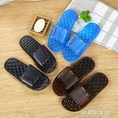 家居室內外防滑厚底舒適水晶塑料純色男士時尚涼拖鞋 解憂雜貨鋪