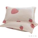 北極絨珊瑚絨枕套一對裝冬季加厚枕芯套單人法蘭絨枕頭套成人女 FX2405 【毛菇小象】