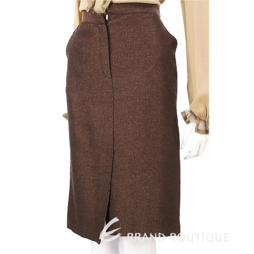 Lorella Braglia 咖啡色不對稱設計金蔥及膝裙 0510663-07