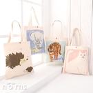 【日貨動物手提袋 L號方型鈕釦款】Norns 刺蝟 A4包包 帆布包帆布袋 手提包北極熊環保袋