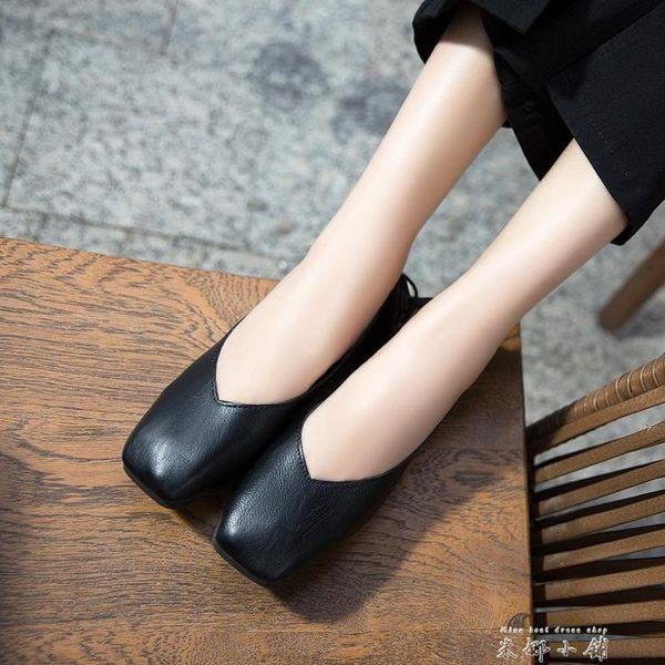 復古豆豆奶奶鞋方頭淺口低跟平底單鞋女夏季2019新款韓版百搭女鞋   米娜小鋪