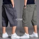 夏季薄款休閒褲男士七分褲寬鬆加肥加大碼短褲肥佬褲多口袋工裝褲