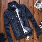 【男人幫】CB002* 韓國修身輕彈性原色丹寧牛仔外套 刷色單寧