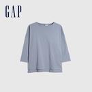 Gap女裝 簡約風格厚磅純色圓領長袖T恤 656453-灰藍色