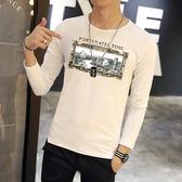 韓版T恤 男短t恤 男t恤 秋季印花長袖T恤男裝 圓領上衣修身打底衫【非凡上品】cx606