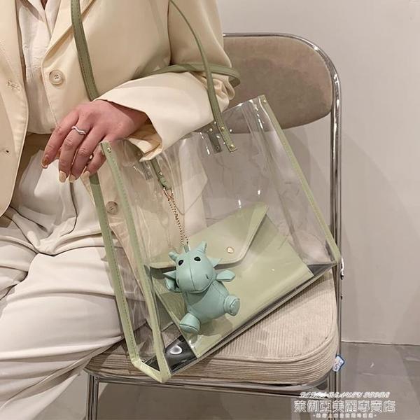 果凍包 大容量透明包包2021新款時尚網紅果凍包女包側背包百搭子母托特包 新品