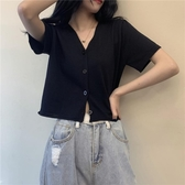 針織外套 夏季2020新款V領薄款冰絲bm短袖針織開衫女外搭洋氣小款上衣短款