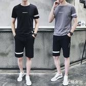 男士運動套裝夏季跑步健身運動衣服裝寬鬆休閒短袖t恤短褲兩件套zzy1456『大尺碼女王』