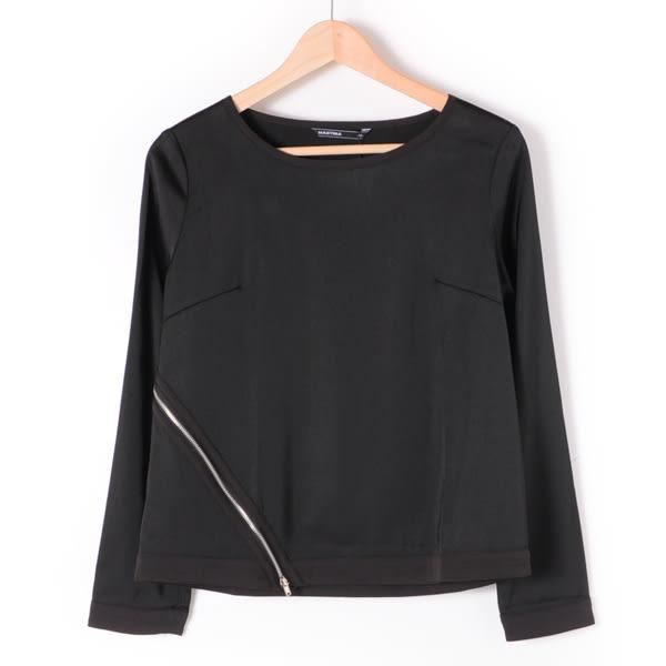 【MASTINA】拉鍊造型亮面上衣1-黑 10501