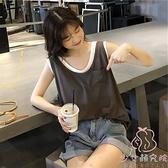 無袖T恤女夏韓國假兩件短袖韓版學生寬松上衣【少女顏究院】