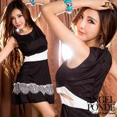 天使波堤【AC01750】黑白撞色挖腰蕾絲裙帶傘擺洋裝↘現貨 新品  降價出清