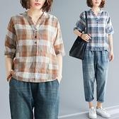 棉麻短袖T恤文藝復古夏季新款V領寬鬆格子襯衫休閒百搭亞麻上衣女 果果輕時尚