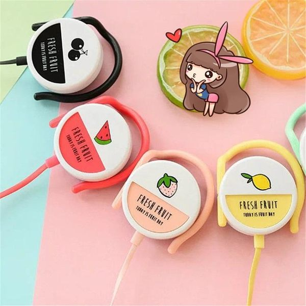 萬聖節大促銷 耳機可愛萌女生掛耳式 糖果色水果耳機耳掛式面條線 手機電腦通用