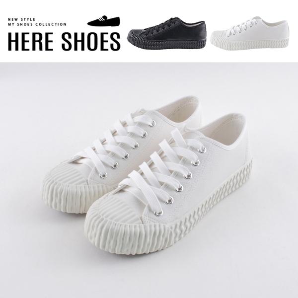 [Here Shoes] MIT台灣製 2cm皮革材質餅乾鞋 皮革綁帶低筒帆布鞋-KCA8521