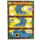 小禮堂 恐龍 直式生日卡片 祝賀卡 送禮卡 節慶卡 (藍棕 暴龍) 4711717-29329
