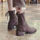 靴子女小短靴chic單靴粗跟女高跟鞋騎士英倫風 伊鞋本鋪