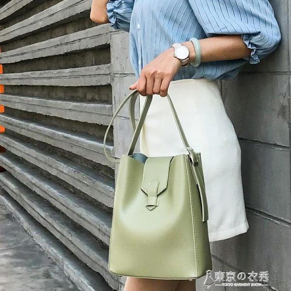 水桶包女韓國簡約百搭原宿側背斜跨包包休閒子母包 【東京衣秀】